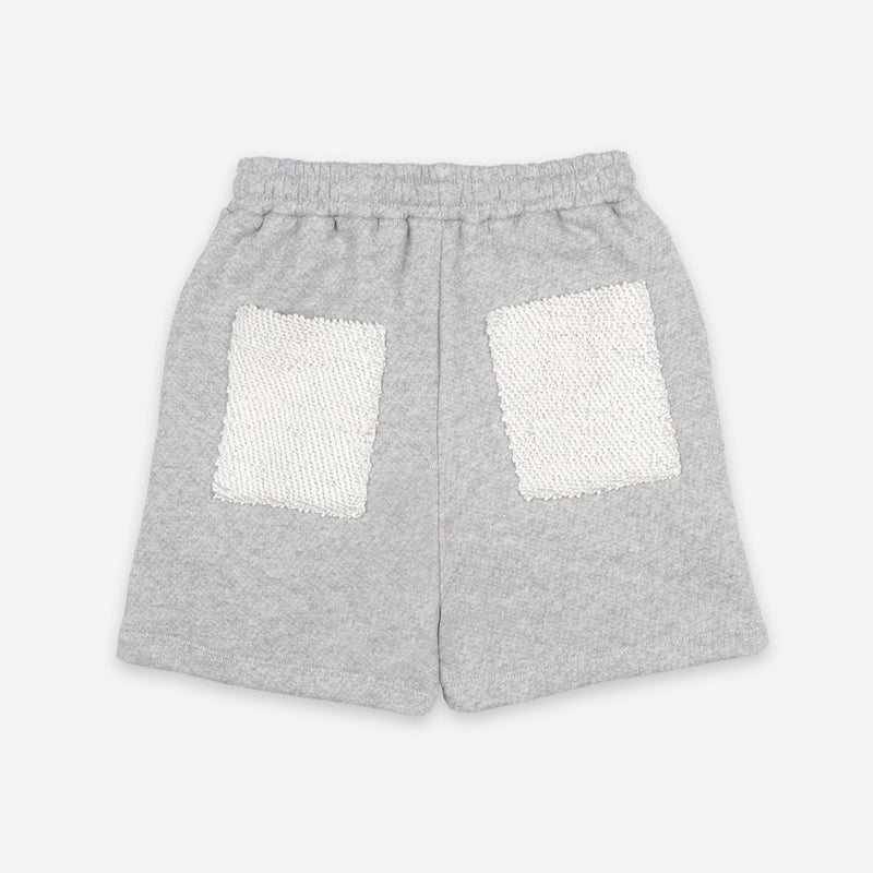 Bobo Choses fingers crossed fleece bermuda shortsit, quiet gray