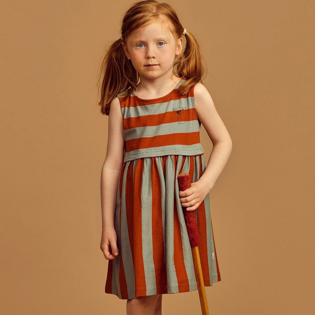 Mainio stripe mekko, bombay brown/seagrass