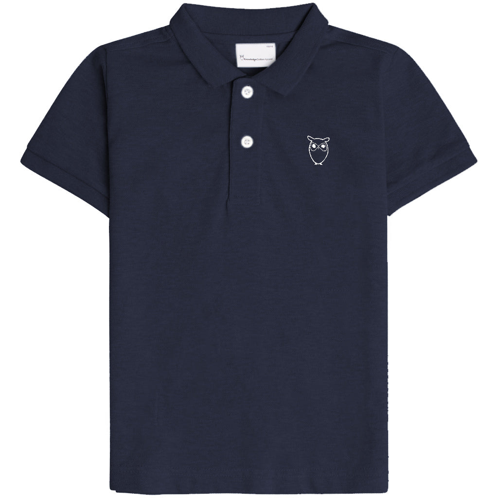 Knowledge Cotton basil basic polo tee, total eclipse