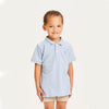 Knowledge Cotton basil basic polo tee, sky way melange