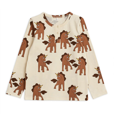 Mini Rodini unicorns grandpa paita, off white