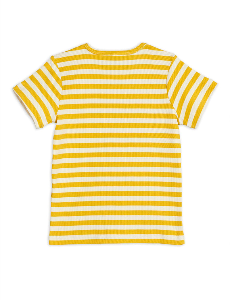 Mini Rodini stripe rib tee, yellow