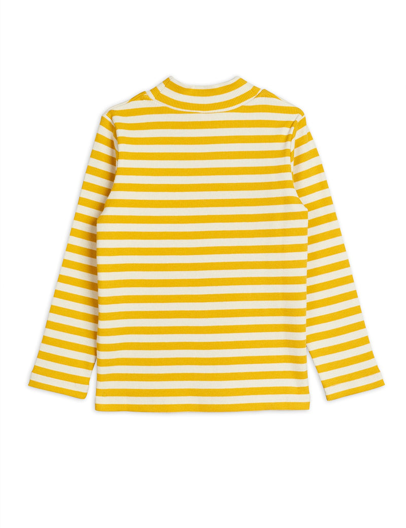 Mini Rodini stripe rib high neck paita, yellow