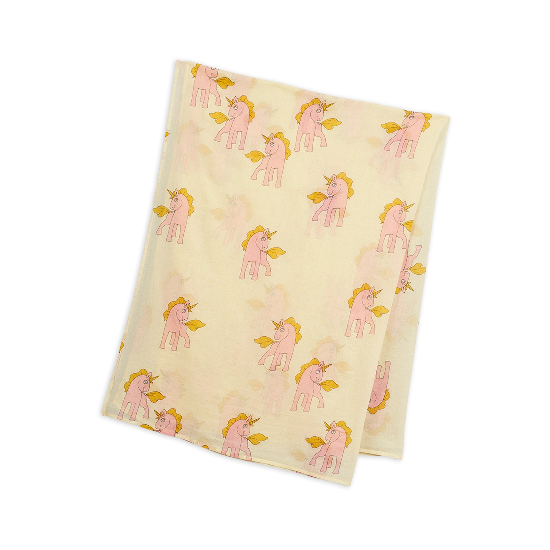 Mini Rodini unicorns woven sarong huivi, yellow
