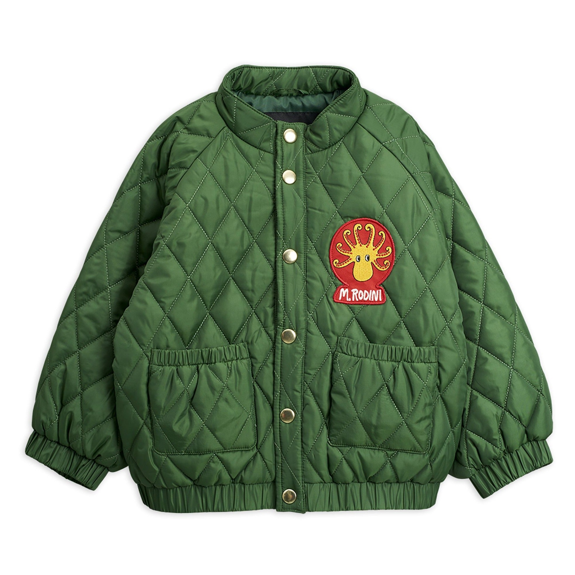 Mini Rodini diamond quilted takki, dark green