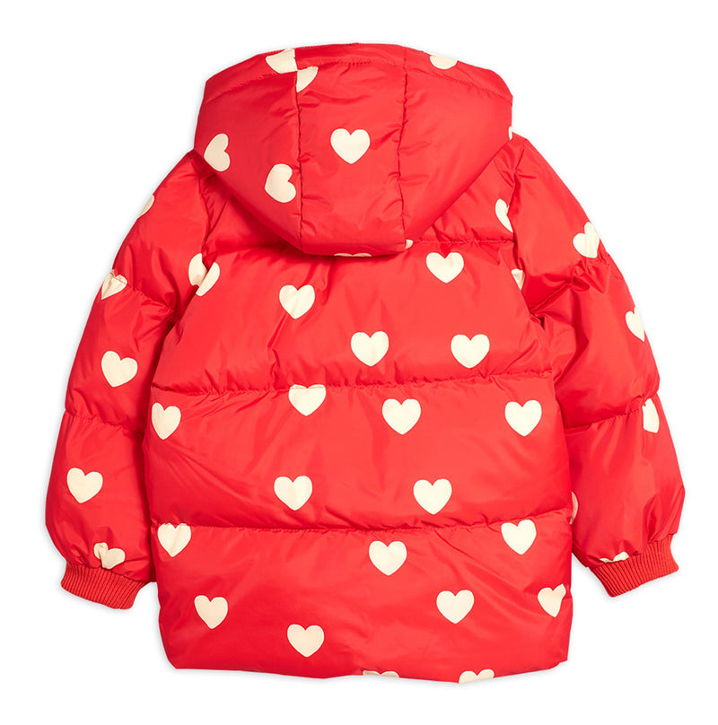 Mini Rodini hearts pico puffer toppatakki, red