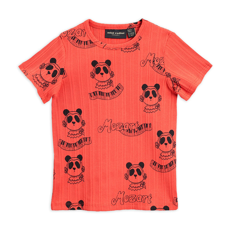 Mini Rodini mozart aop tee, red