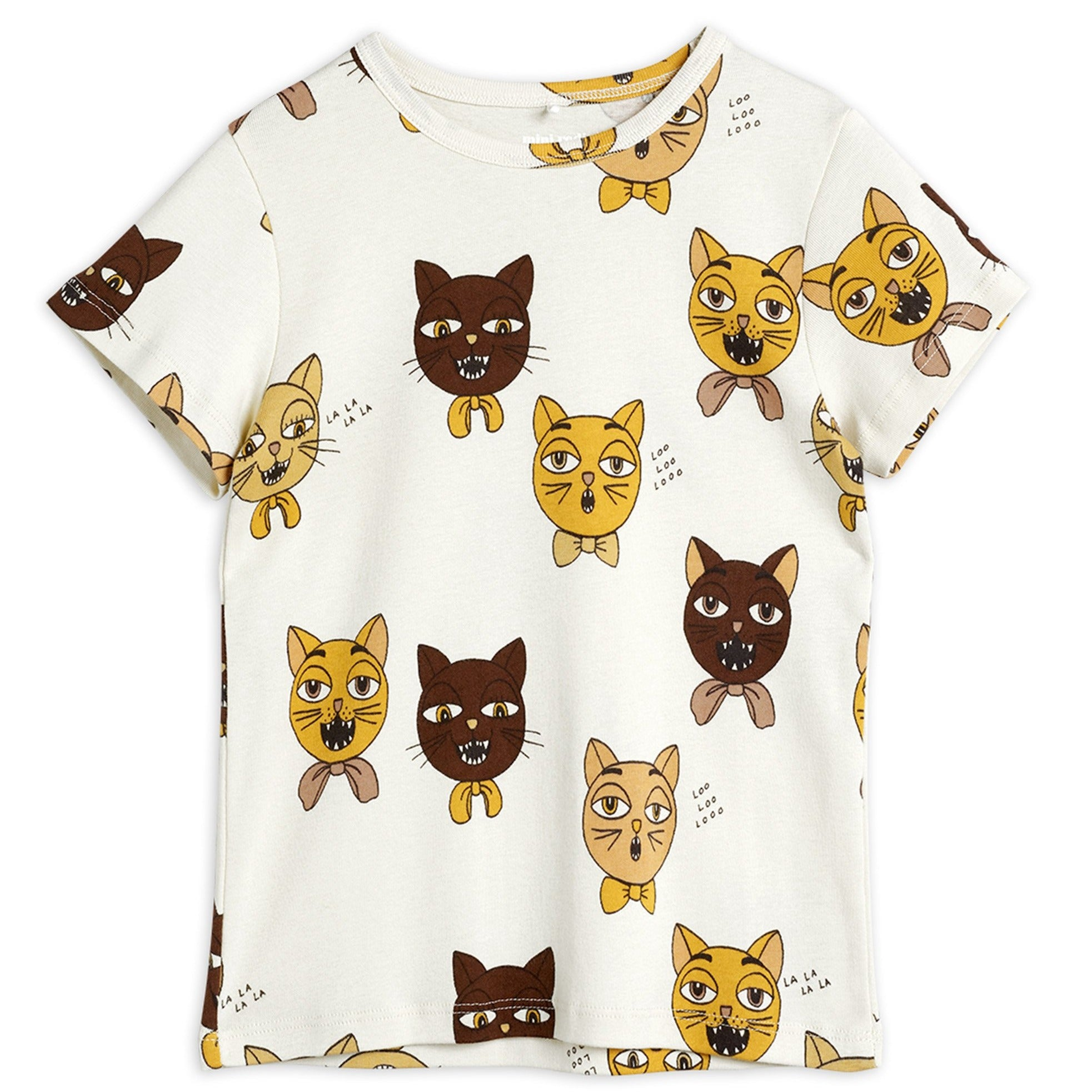 Mini Rodini cat choir tee, off white