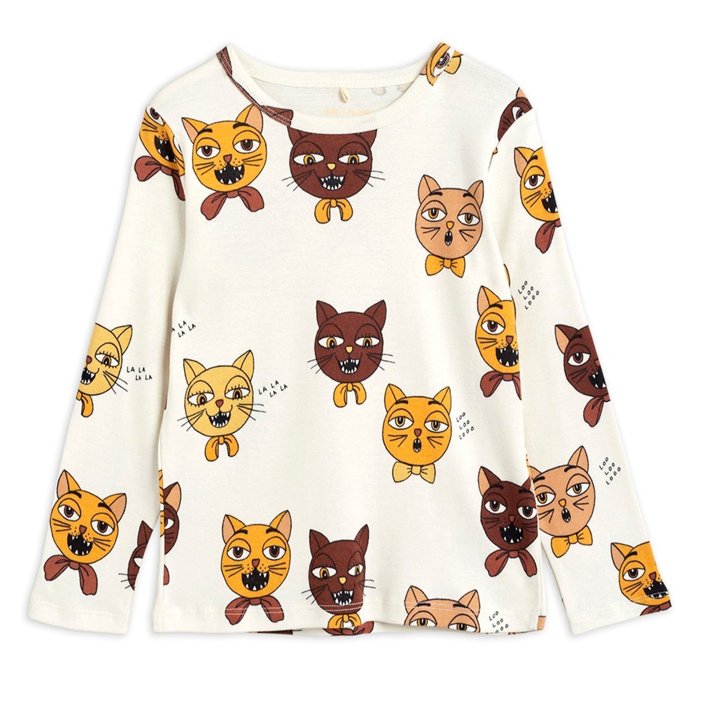Mini Rodini cat choir aop paita, off white