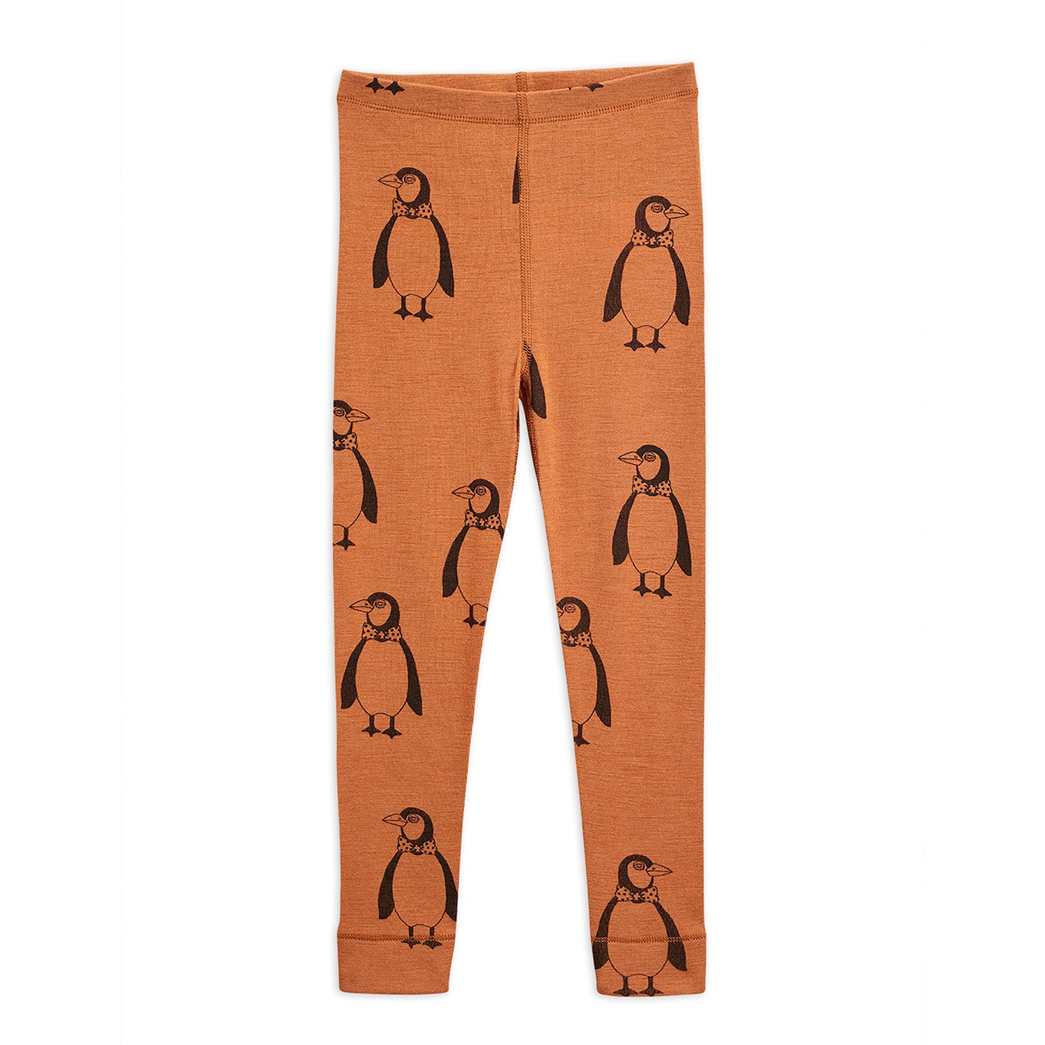 Mini Rodini penguin wool leggarit, brown