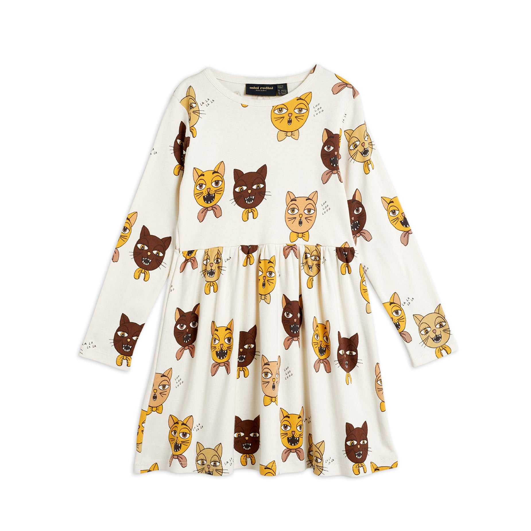 Mini Rodini cat choir mekko, off white