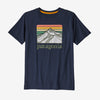 Patagonia boys' graphic line logo tee, new navy