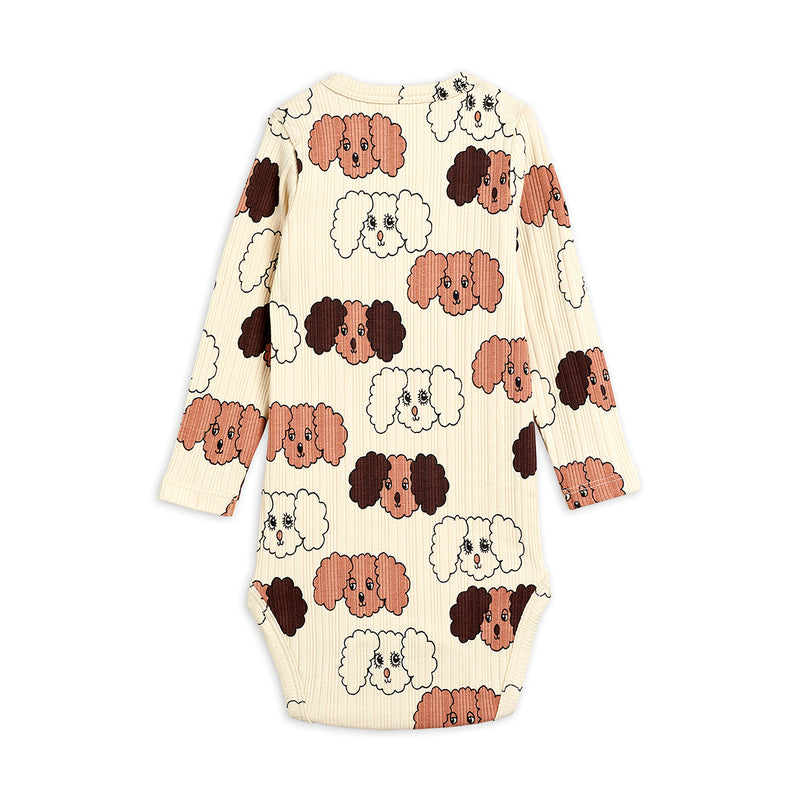 Mini Rodini fluffy dog aop body, beige