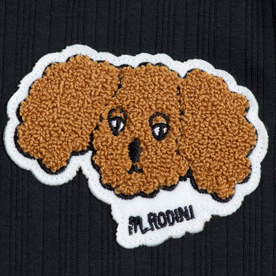 Mini Rodini fluffy dog patch mekko, black