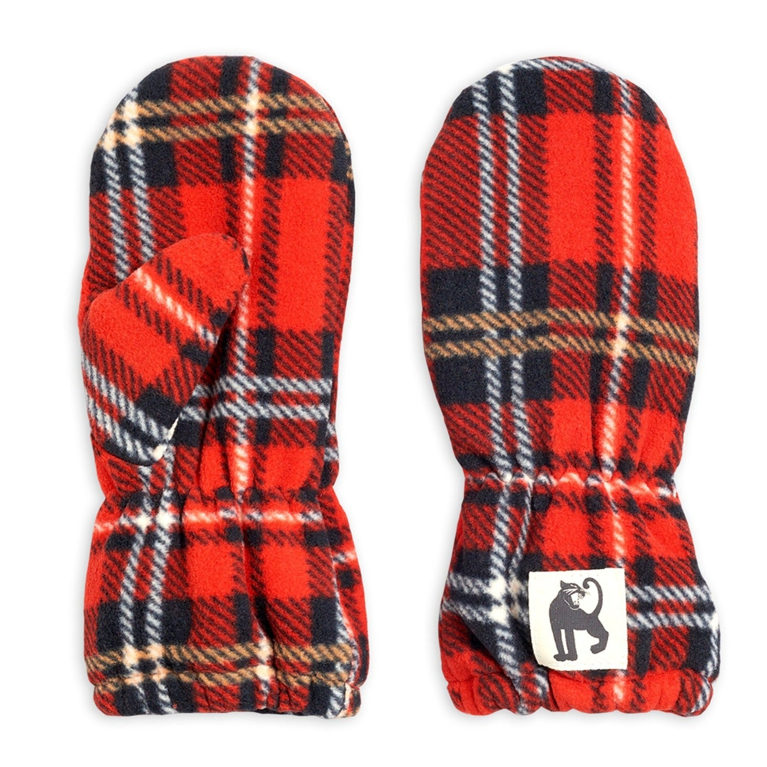 Mini Rodini check fleece lapaset, red