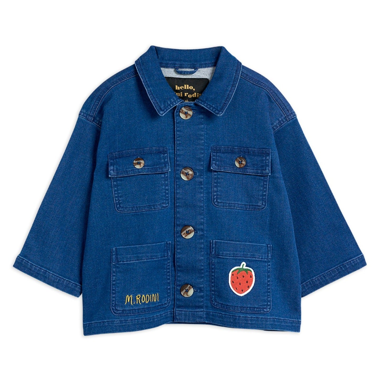 Mini Rodini denim strawberry safari takki, blue