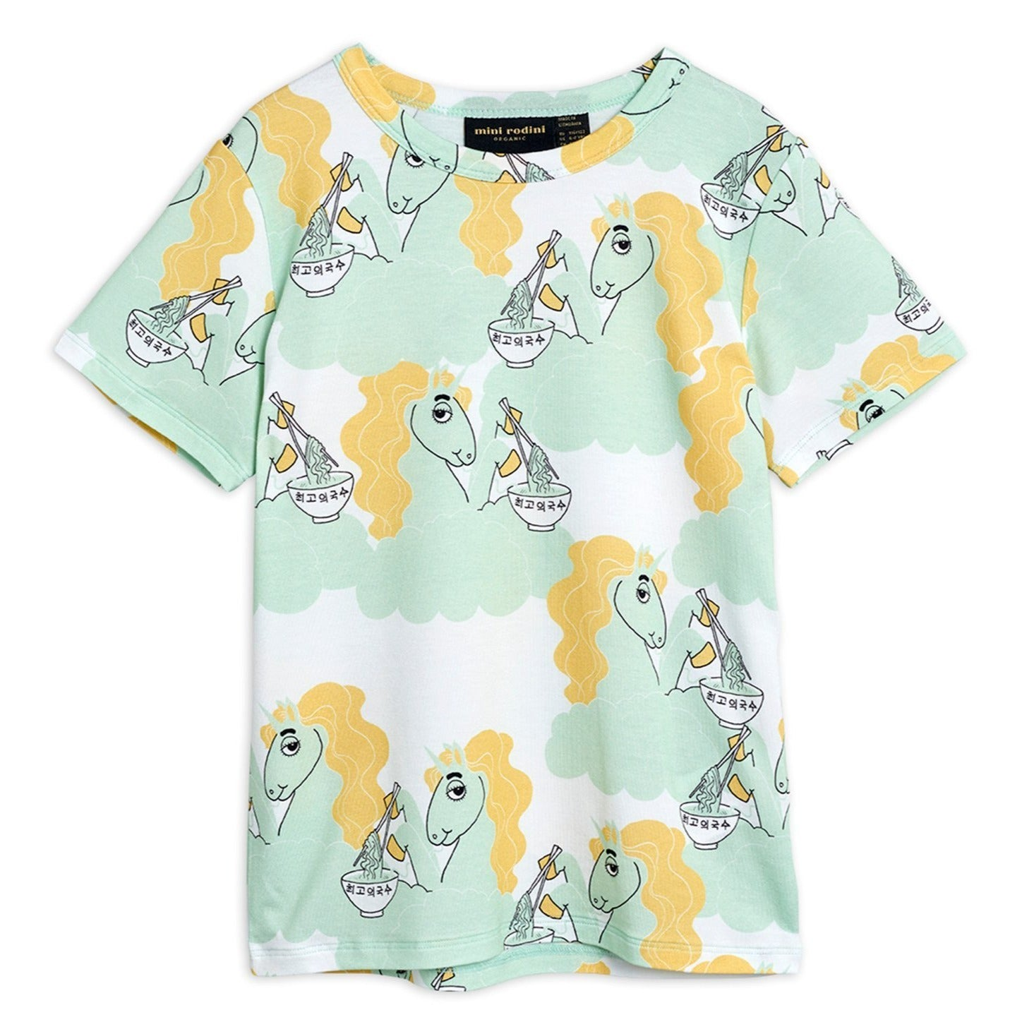 Mini Rodini unicorn noodles tee, green