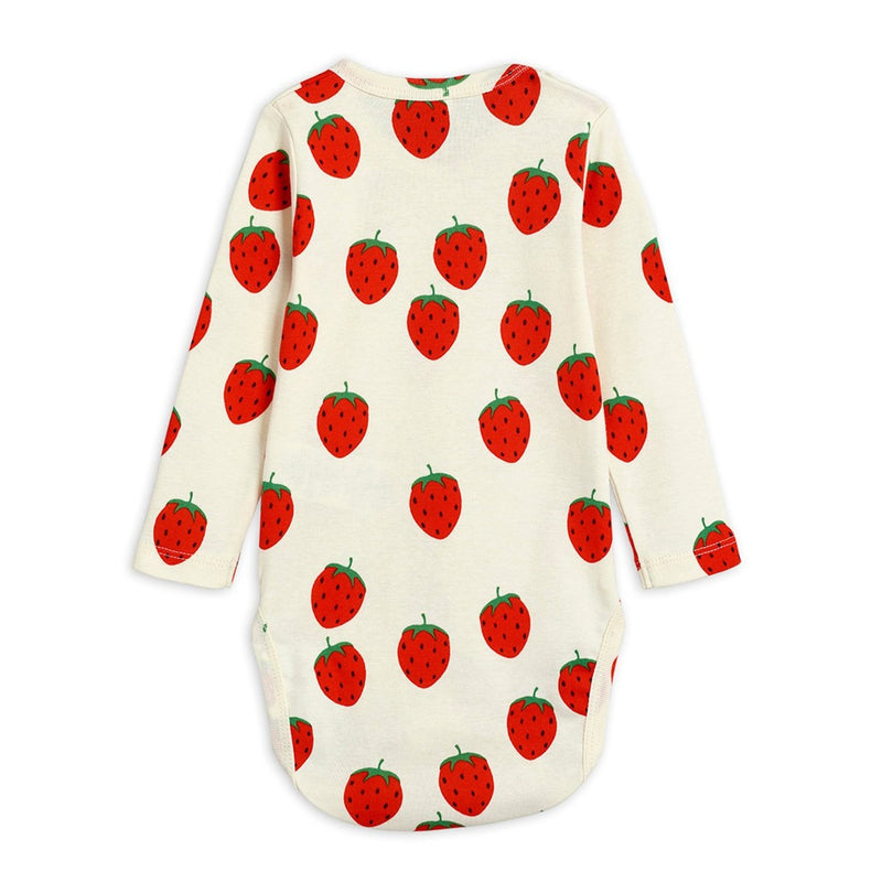 Mini Rodini strawberry aop ls body, offwhite