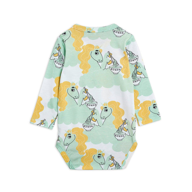 Mini Rodini unicorn noodles body, green