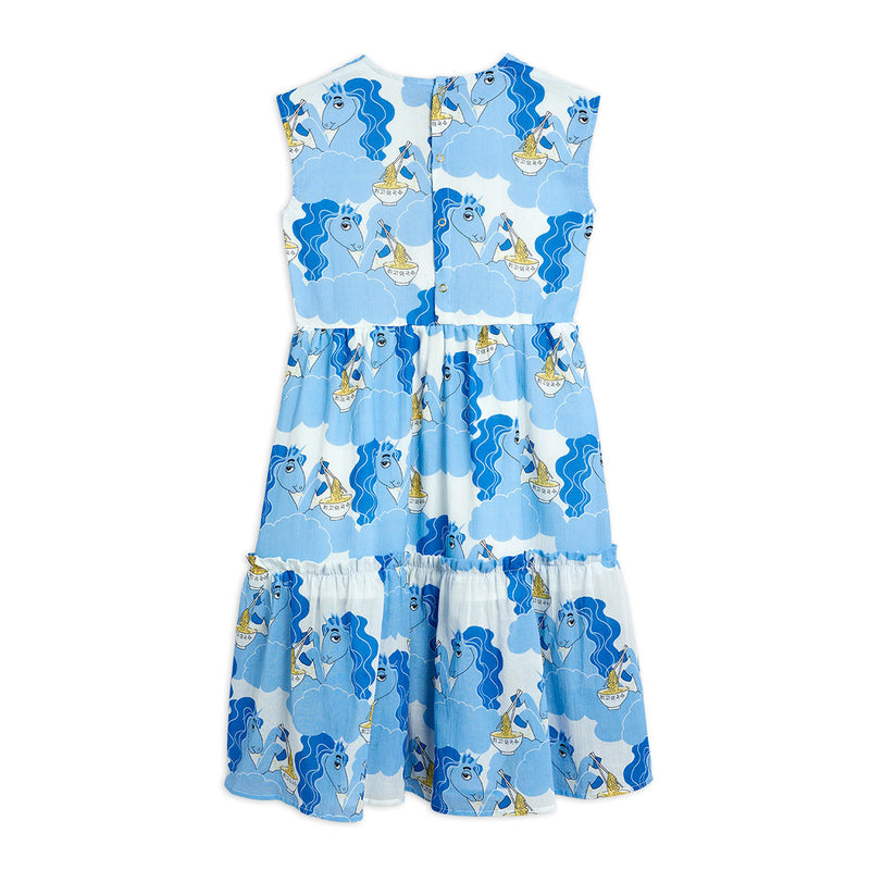 Mini Rodini unicorn noodles woven long mekko, blue