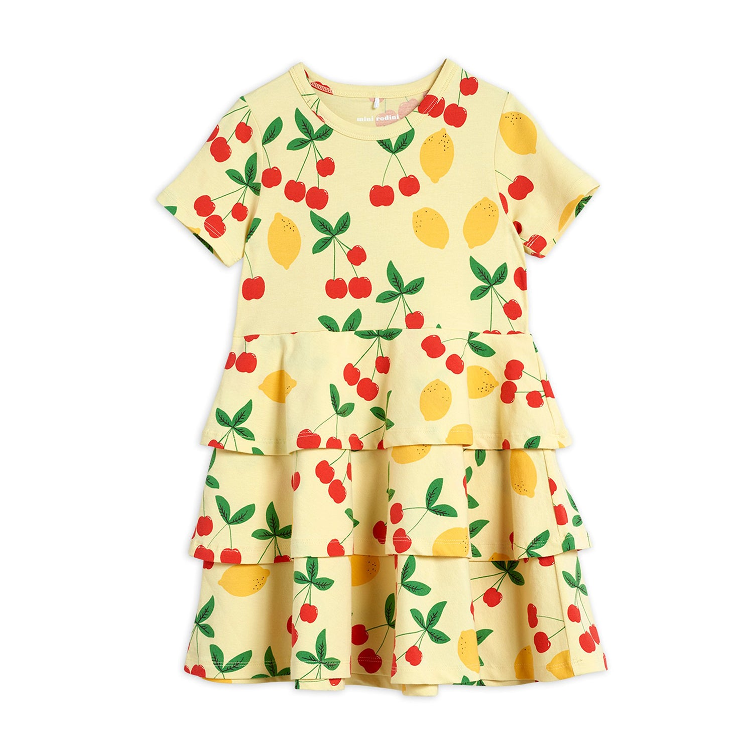 Mini Rodini cherry lemonade aop ss mekko, yellow