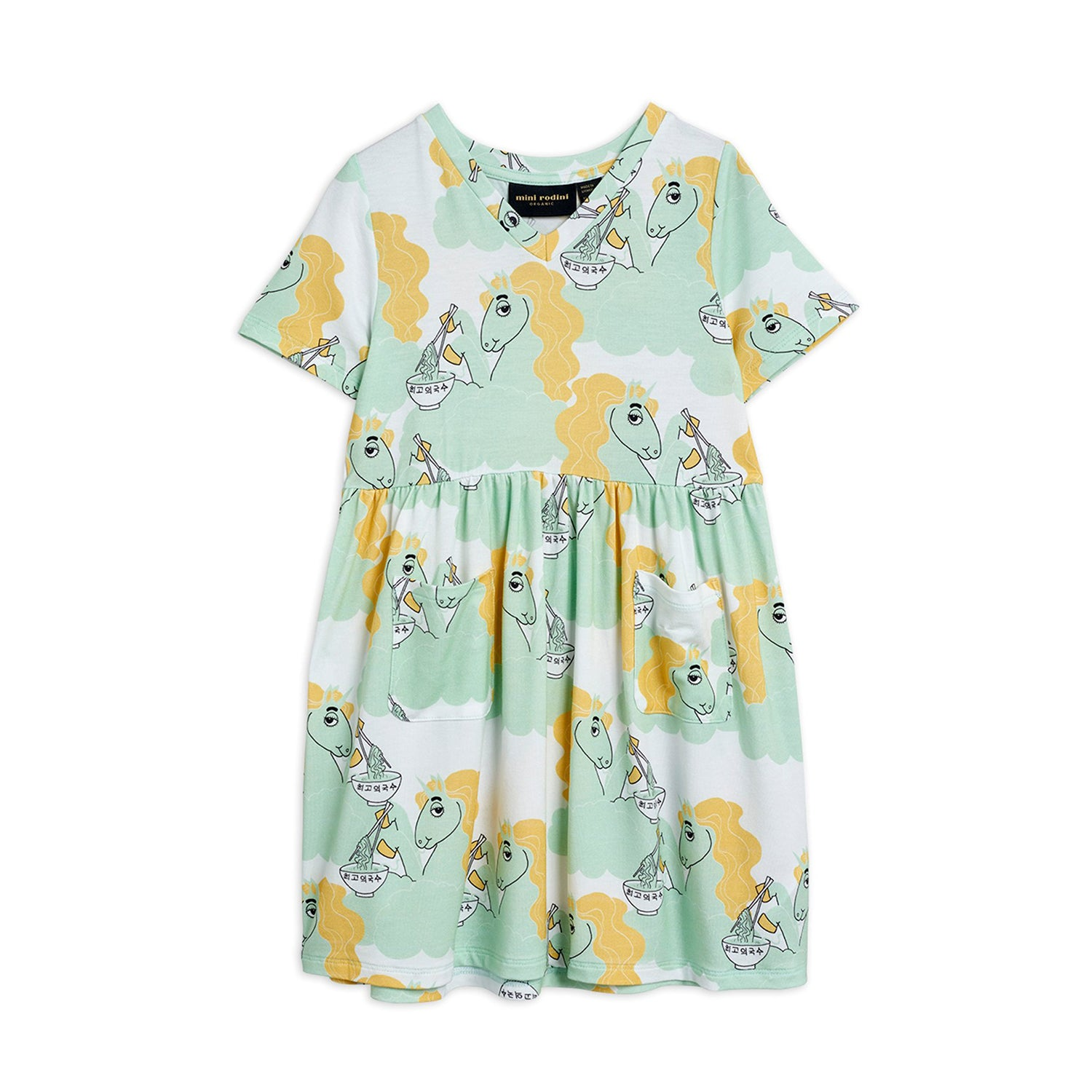Mini Rodini unicorn noodles mekko, green