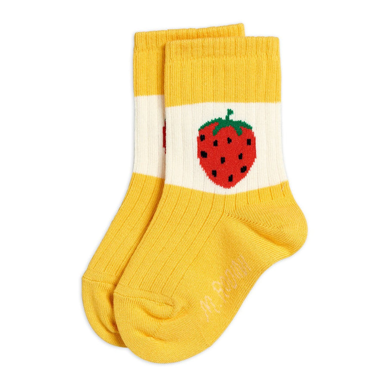 Mini Rodini strawberry ribbed sukat, yellow