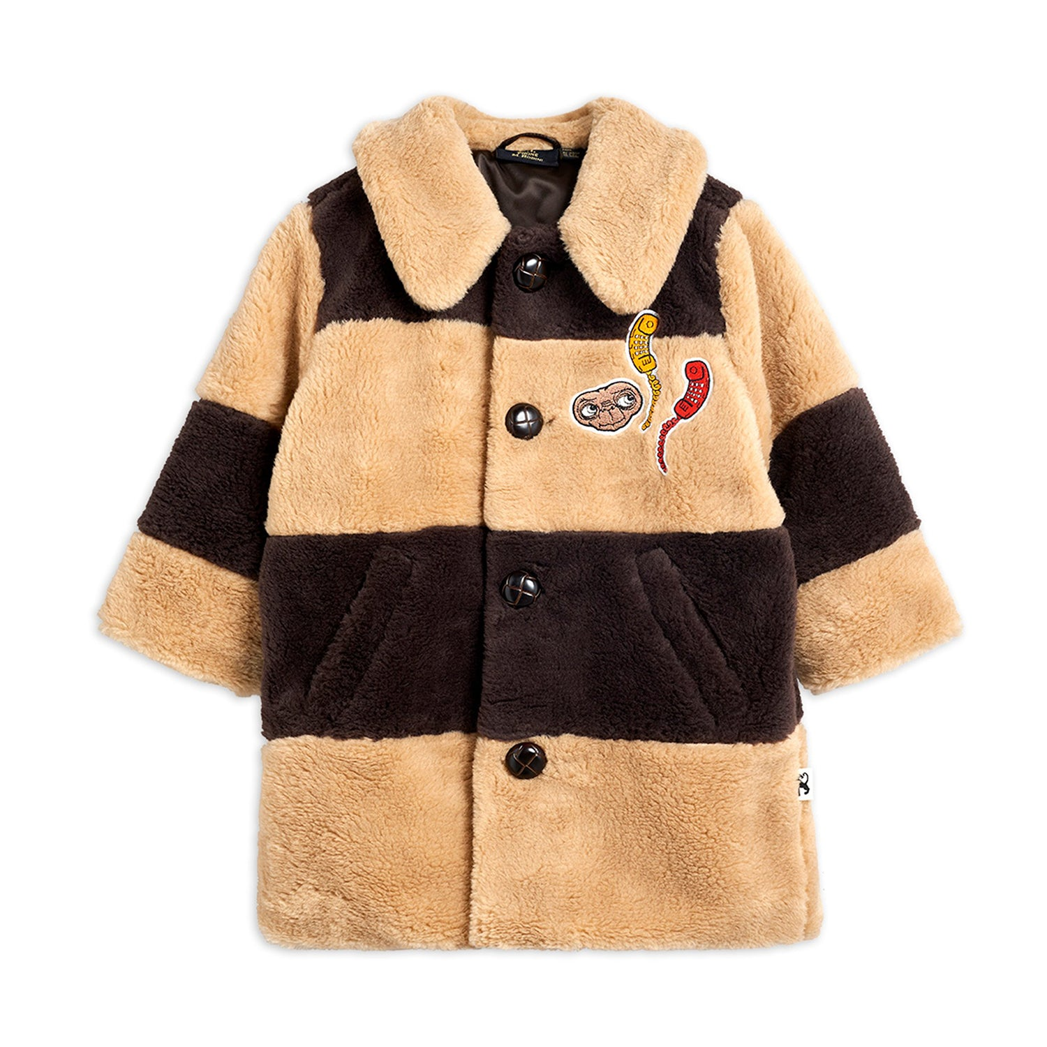 Mini Rodini striped faux fur takki, beige