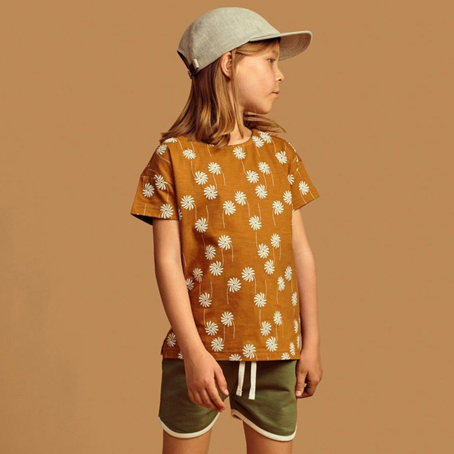 Mainio flower power tee, bone brown
