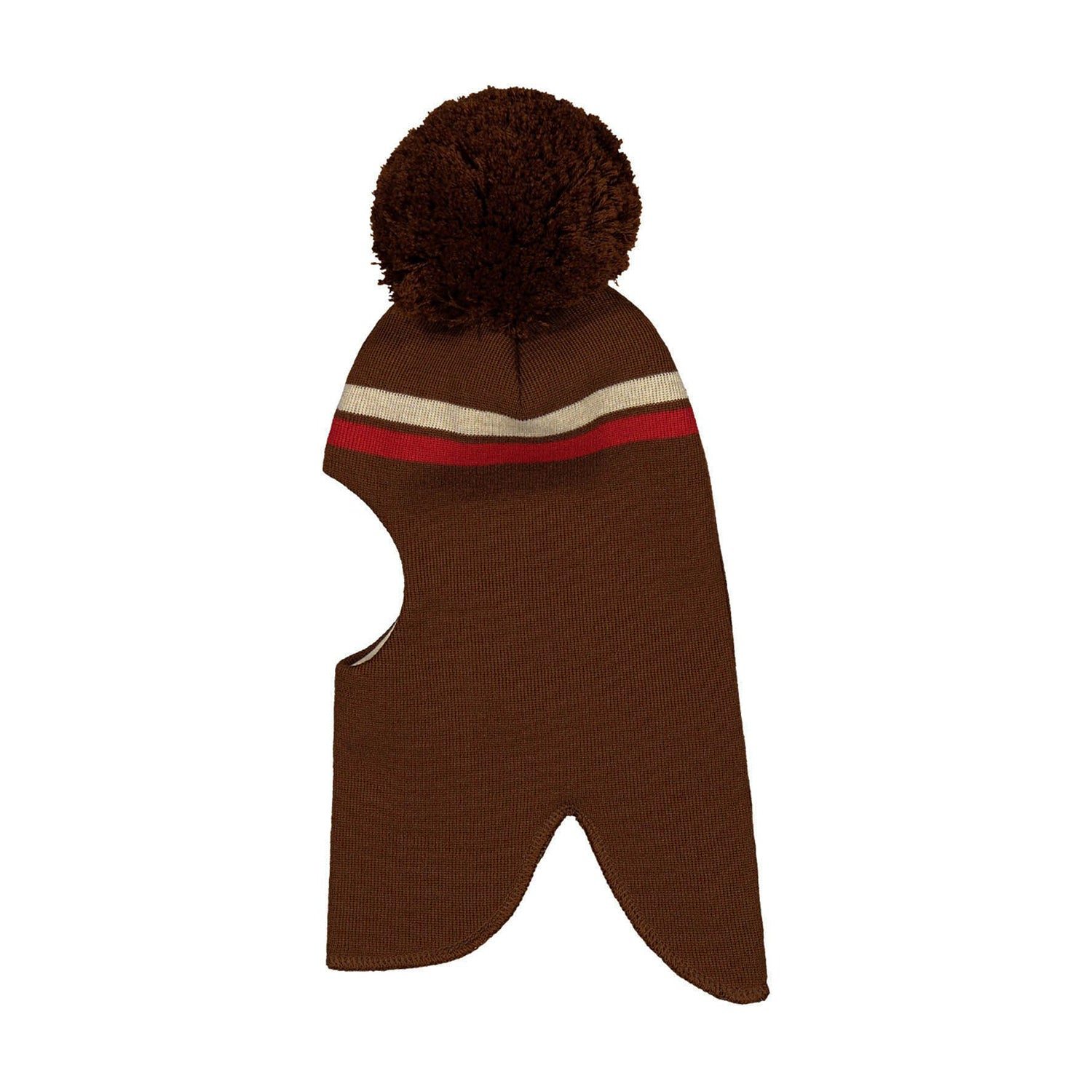 Mainio stripes balaclava merinovilla pipo, brown