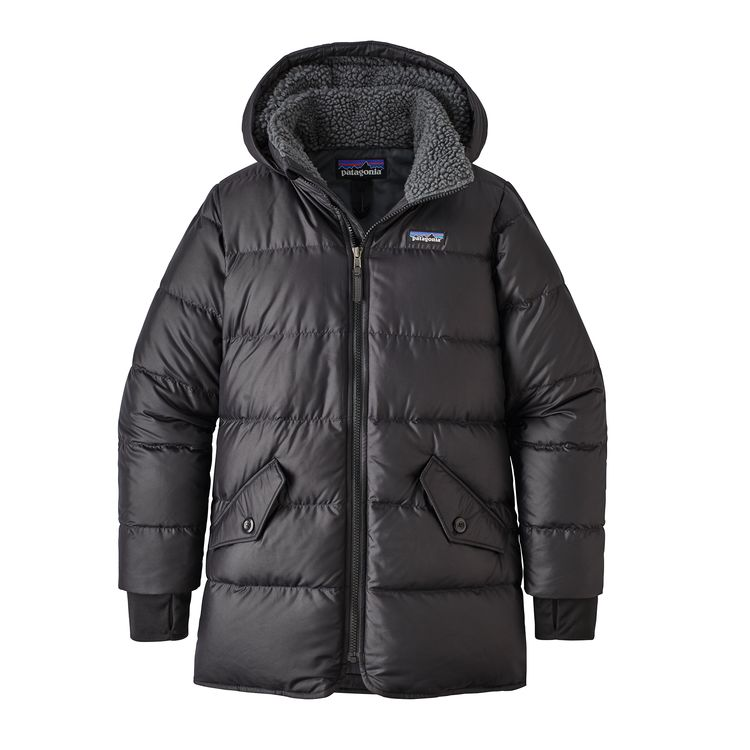 Patagonia girl's down parka, black