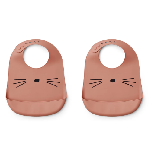 Liewood tilda 2-pack cat ruokalappu, dark rose