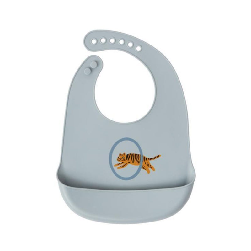 OYOY tiger ruokalappu 2pack, pale blue