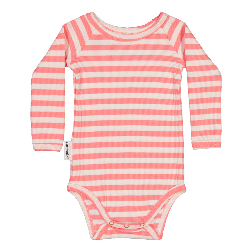 Metsola striped rib body, rosewater/white
