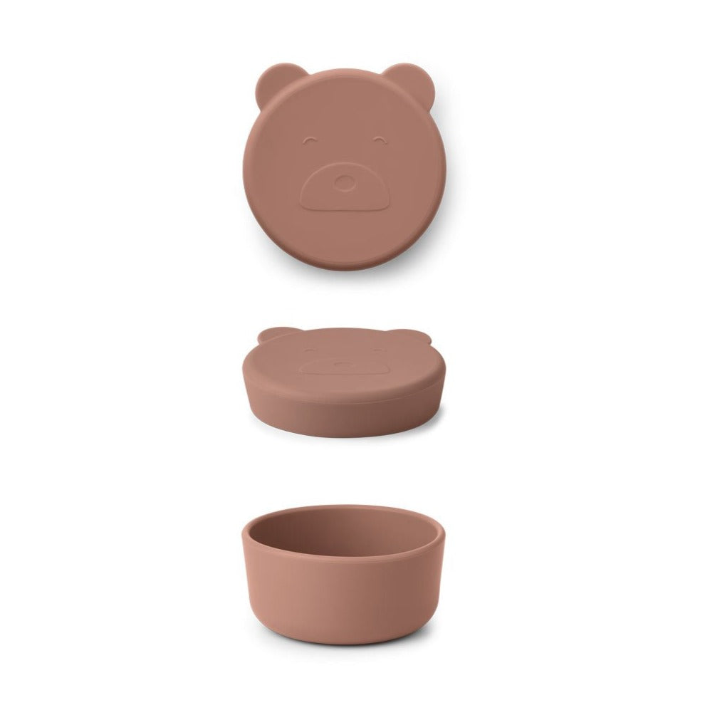Liewood carrie mr bear snack box, dark rose