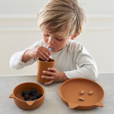 Liewood cyrus silicone junior set, cat dark rose