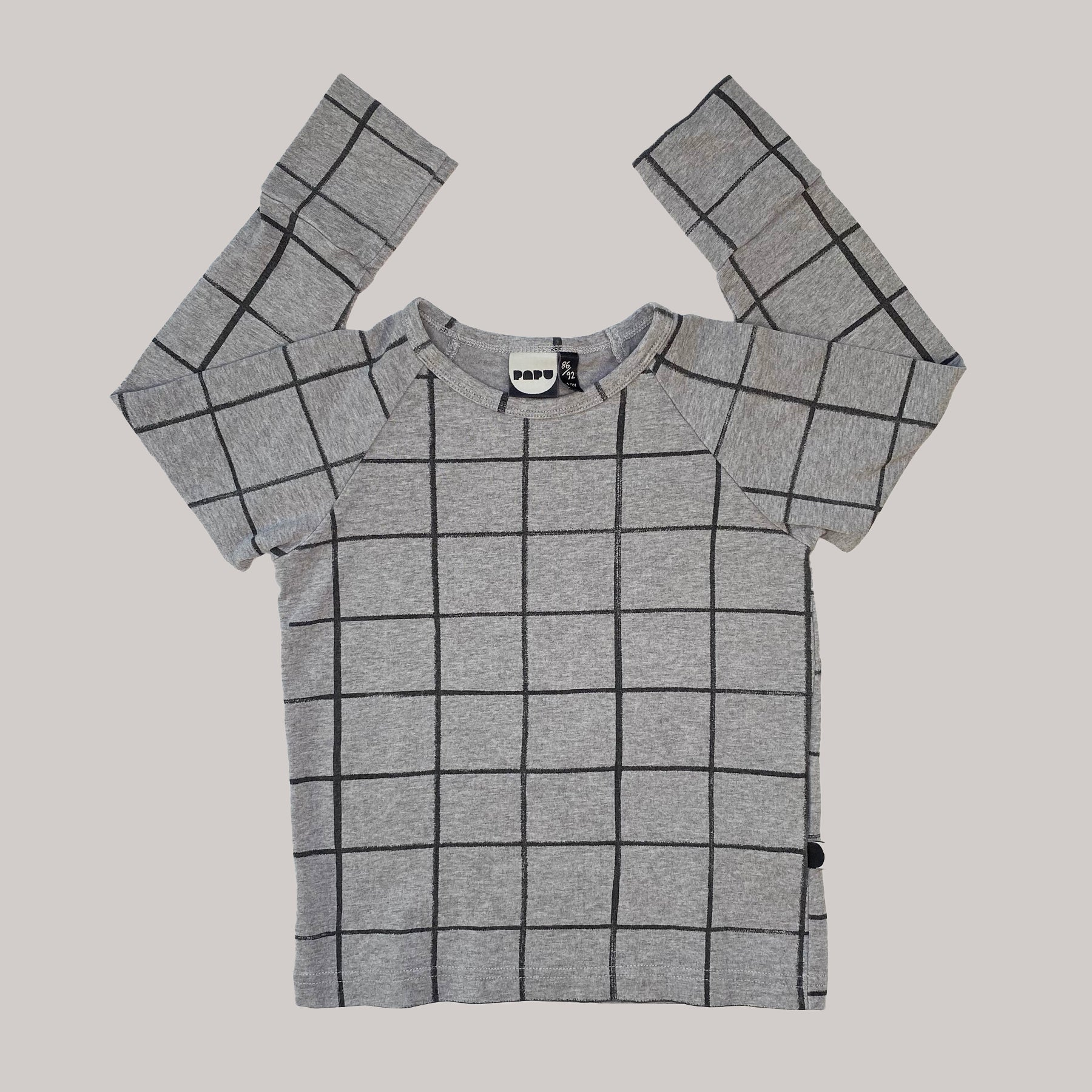 Re-wear : Papu ruutu paita, grey | 86/92cm