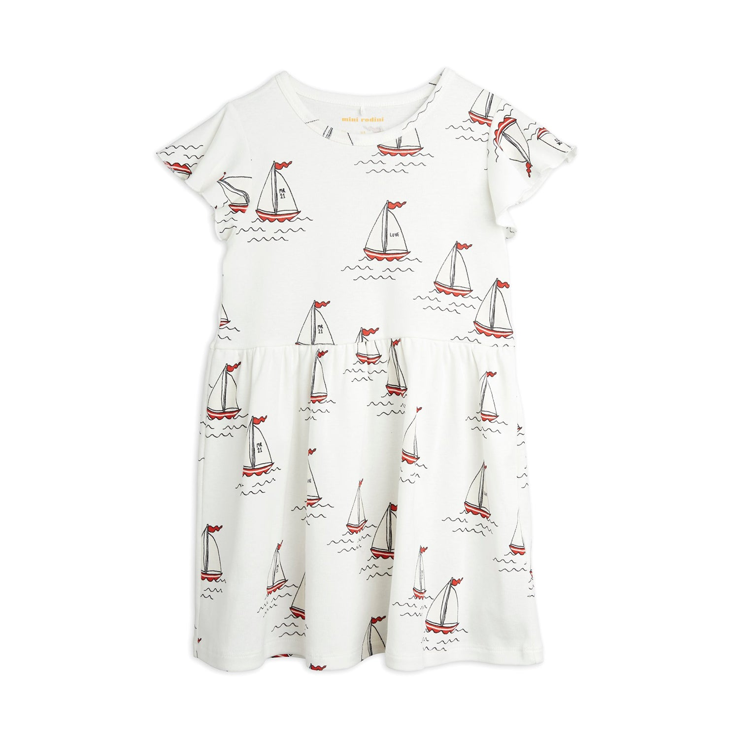 Mini Rodini sailing boats wing mekko, white