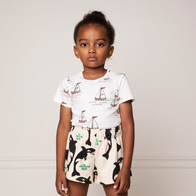 Mini Rodini sailing boats tee, white