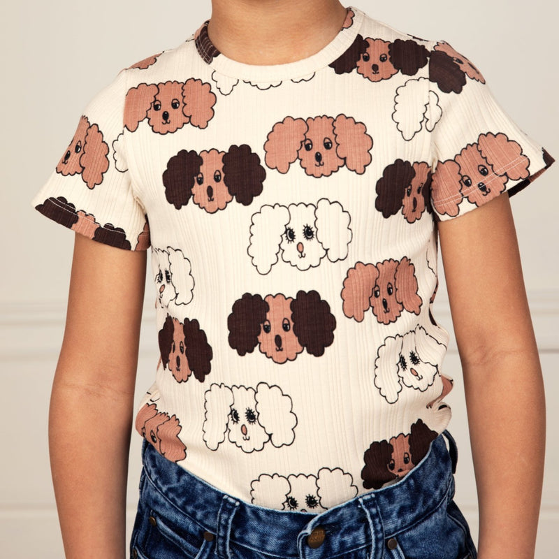 Mini Rodini fluffy dog tee, beige