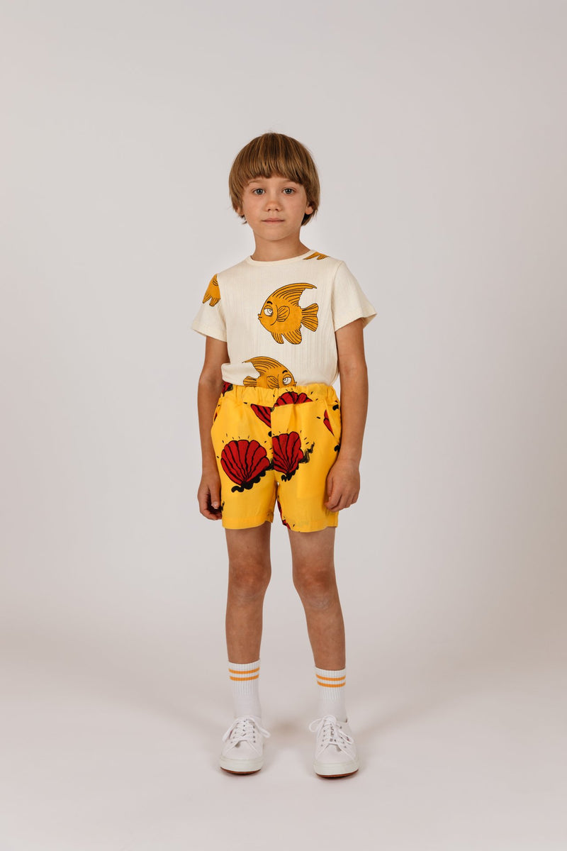 Mini Rodini shell woven shortsit, yellow