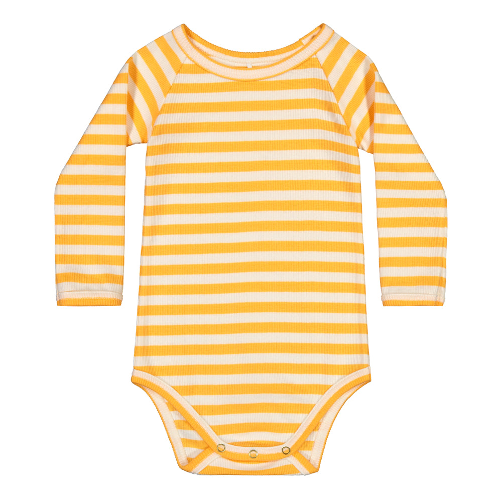 Metsola striped rib body, papaya/white