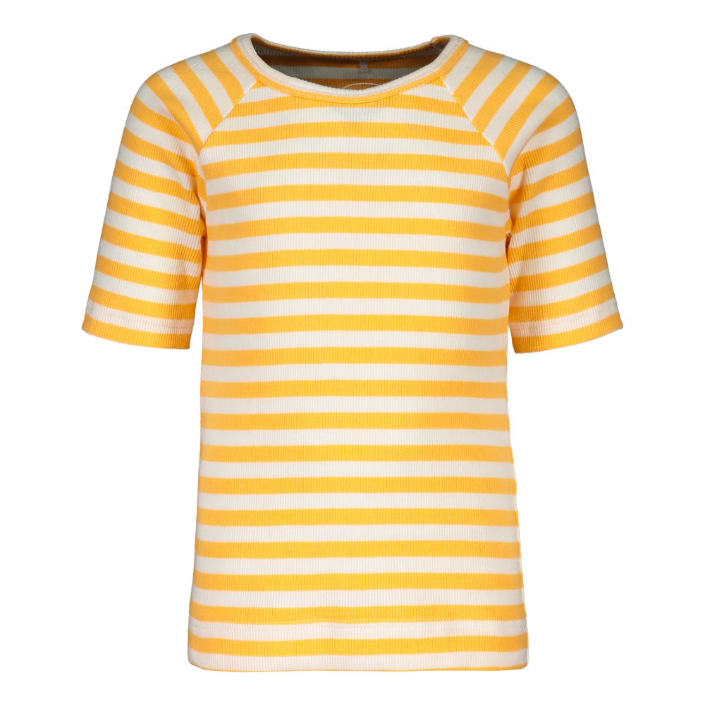Metsola striped rib tee, papaya/white