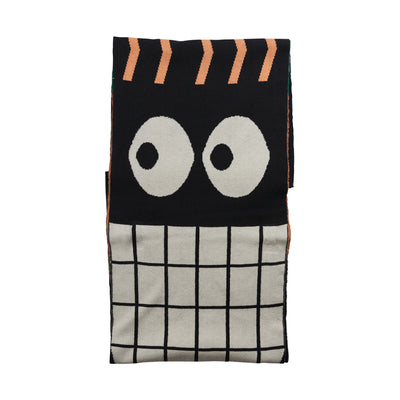 Papu sneaky eye oblong huivi, black /cantaloupe /green