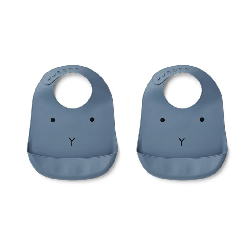 Liewood tilda 2-pack rabbit ruokalappu, blue wave