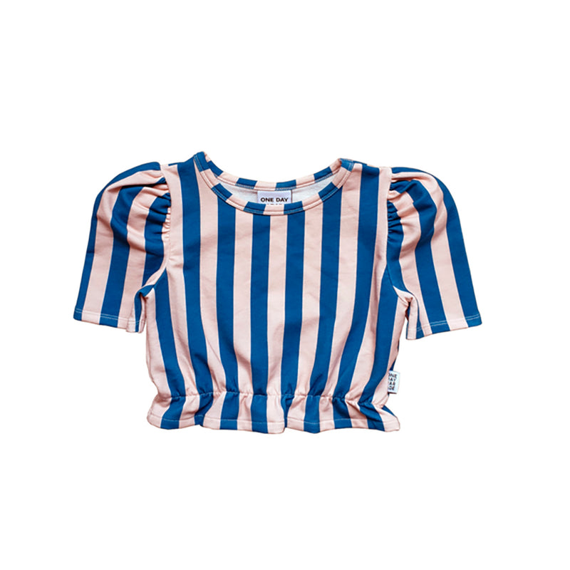 One day parade cropped top stripe tee, blue