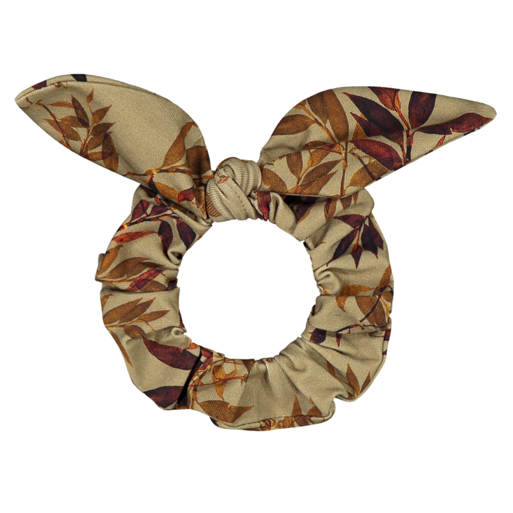 Kaiko bow scrunchie, golden botany