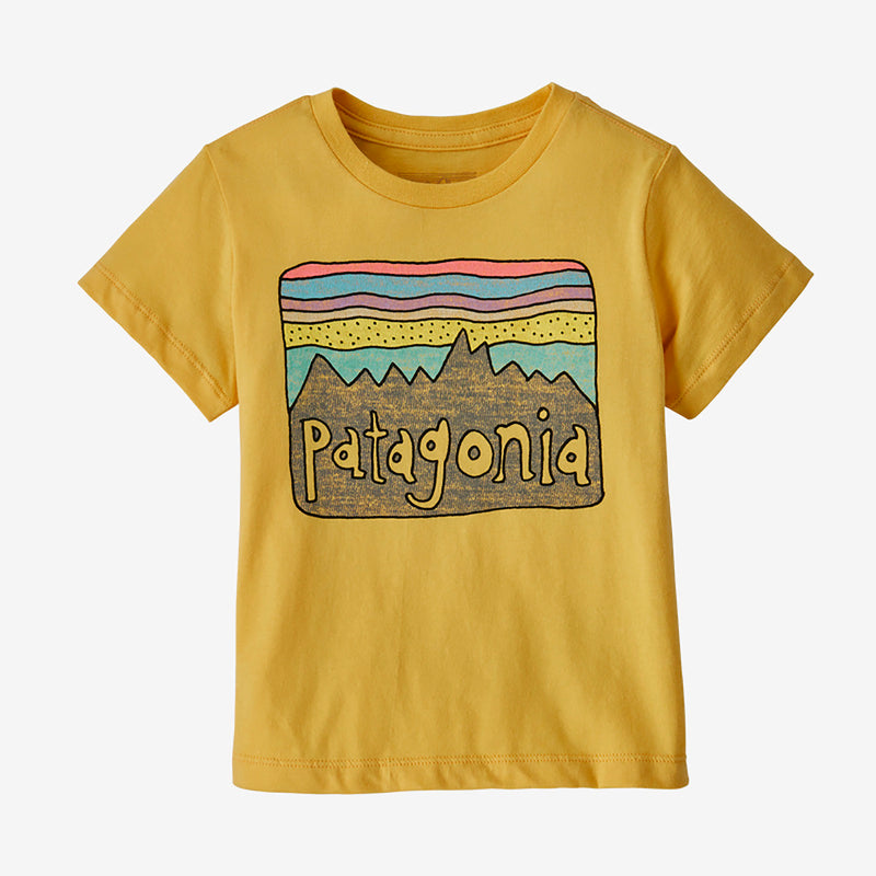 Patagonia baby fitz roy skies tee, surfboard yellow