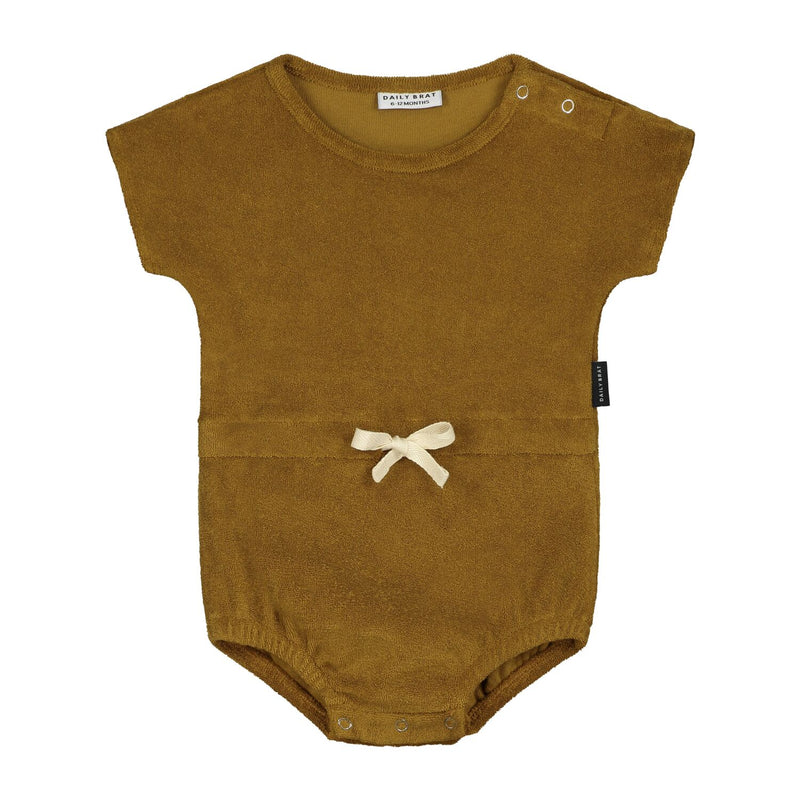 Daily Brat joe towel romper, sandstone