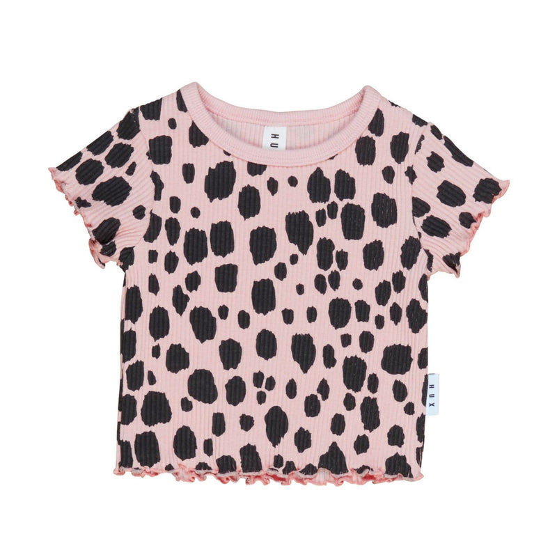 Huxbaby ocelot rib tee with lettuce edge, brigt rose